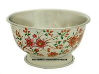 Stainless Steel Deep Mixing Salad Bowl in Hand Oil Painted Floral Bowl Beautiful