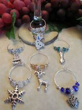 NEW 6 Different Disney FROZEN Inspired Wine Glass Charms Great Holiday Gift Idea