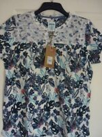 MANTARAY BLUE MULTI FLORAL HOTCHPOTCH T-SHIRT TOP. UK 18, EUR 44-46, US 14. BNWT