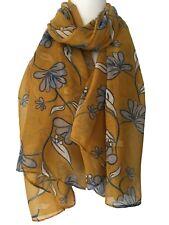 Floral Scarf Yellow Ivory Grey Flowers Womens Wrap Ladies Mustard Flower Shawl