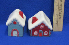 Pair Salt & Pepper Shakers Snow Covered Houses Cottages Winter Christmas Tag