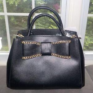 Betsey Johnson Black Large Bow Satchel Shoulder Bag Purse NWT