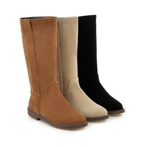 Women's Cuban Heel Round Toe Shoes Black/Beige/Brown Suede Fabric Mid Calf Boots