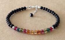 Tourmaline Quartz+Black Onyx Beads, Sterling Silver, Beaded Friendship Bracelet