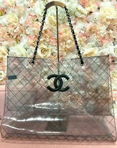 Chanel Transparent and Lambskin Black Naked XXXL Extra Large Clear Tote Bag