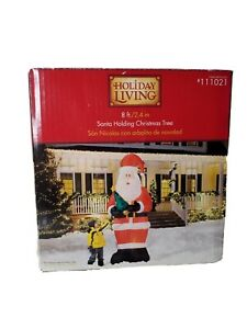 HOLIDAY LIVING SANTA CLAUS HOLDING CHRISTMAS TREE AIRBLOWN INFLATABLE 8FT