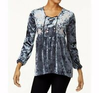 NEW Style & Co Embroidered Crushed Velvet Peasant Top Grey Size Choice S-XXL $59