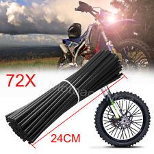 72x Black Wheel Rim Spoke Wraps Skins Cover Fit Motorcycle Dirt Bikes Universal