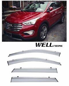 For 13-UP Hyundai Santa Fe XL WellVisors Side Window Visors W/ Chrome Trim
