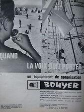 PUBLICITÉ DE PRESSE 1964 BOUYER ÉQUIPEMENT DE SONORISATION - PLAGE - ADVERTISING