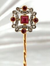 Antique 18ct Gold Ruby Diamond Stick Pin Brooch