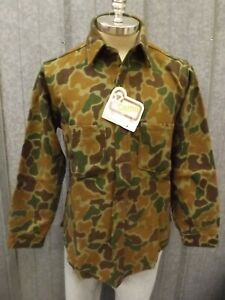 Woolrich Vtg NEW 100% Virgin Wool Green Brown Woodland Camo Hunting Shirt Mens M