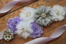 Maternity Sash,white grey violet Sash, flower Belt, maternity sash, wedding sash