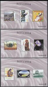 NEW ZEALAND BEST OF 2004 MINIATURE SHEETS (x3) UHM (ID:D0438)