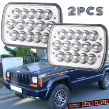 "5x7"" 7x6'' 5D CREE LED Headlight Halo DRL Fr Jeep  Cherokee XJ Chevrolet sliver"
