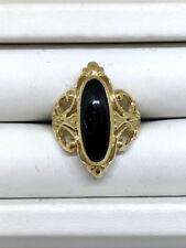 Vintage; Cabascon Black Onyx Ladies Ring, 14k yellow gold