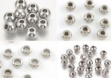 6mm Edelstahl Perlen 20St Fädelloch 1-2,5mm Stainless Steel Spacer