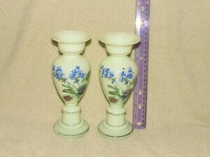 Two Vintage Porcelain Hand Painted Floral Vases