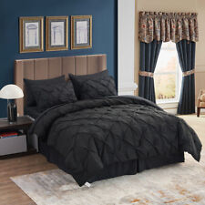 8 Pieces Comforter Set Bed in a Bag Decorative Pinch Pleat Comforter 6 Colors