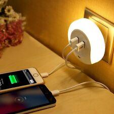 Geekmart Dual USB Wall Charger Auto LED Night Light Sensor Night Wall Plate Lamp