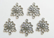 10 Metal Antique Silver Flower Jewellery Connectors/Charms - 23mm