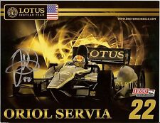 2012 ORIOL SERVIA signed INDIANAPOLIS 500 PHOTO CARD POSTCARD INDY CAR LOTUS wCA