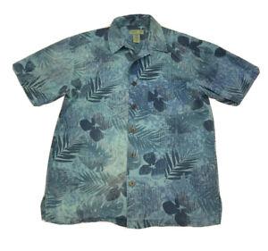 Trader Bay Hawaiian Shirt Size Medium Blue Floral Short Sleeve Button Up