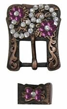 Pair of Antiqued Copper Pink Crystal Rhinestone Accent Buckle & Keeper Sets New