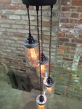 Mason Jar Chandelier Swag Light - Black Canopy, Brown Twisted Cord     PLUG IN!