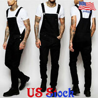 Men Bib Pants Denim Jeans Suspenders Overalls Straight Skinny Jumpsuits Trousers