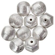 Argento Placcato in ALLUMINIO SPAZZOLATO ROTONDO Perline (12mm) venduto come una confezione da 10 (b27/4)