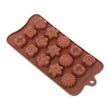 1xPortable Silicone Flower Cake Chocolate15-Cavity Candy Pan Baking Mold Tray S