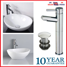 Cloakroom Basin Sink Small Oval Counter top + Tall Tap Mixer + Popup Waste Set