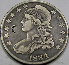 1834 Capped Bust Half Dollar Nice VF with Chinese Chop Mark, NEAT COIN & SCARCE!
