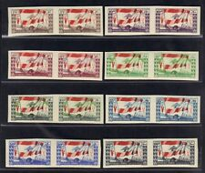 LEBANON 1946 VICTORY ISSUE IMPERF ISSUE IN IMERF PAIRS S.G. 298-305 COMPLETE, NH