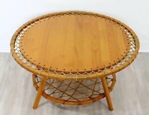 Mid Century Modern Snocraft Norway Maine Round Oak Coffee Table 1970s Rawhide