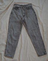 Women Vintage Chic Denim Jeans ~ High Waist ~Tapered Leg ~Sz 13 ~Black Acid Wash