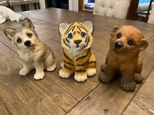 Stone Critters Udc 1994 wolf, tiger, bear Wild Animal Figurine 4� Collectible