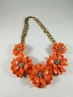Peach Flower Bead Rhinestone Sculpted 3D Botanical Necklace