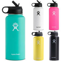 Hydro Flask Insulated Mouth Water Cup Stainless Steel Lid Straw Drinking Bottles