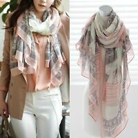 Womens Fashion Print Cotton Long Scarf Wrap Lady Large Shawl Silk Scarves Stole