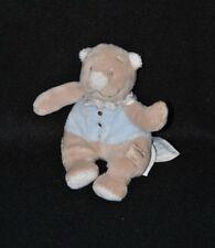 Peluche doudou ours beige bleu NOUKIE'S Oscar & Léon foulard carreaux 13 cm TTBE