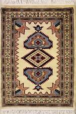 Rugstc 2x3 Caucasian Design White Area Rug, Hand-Knotted,Geometric with Wool