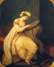 Oil painting portraits woman wearing dress cloth sewing in her room Hand painted
