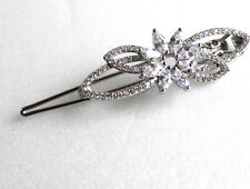 White Gold Plated Simulated Diamond Flower Hair Clip Christmas Birthday Gift
