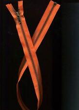 27 1/2 inch Orange & Antique Brass Metal #5 YKK Separating Zipper New!