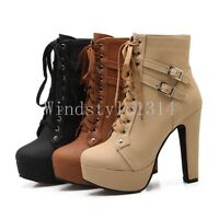 Womens PU Leather Ankle Boots Lace up Platform High Block Heel Punk Shoes Size #