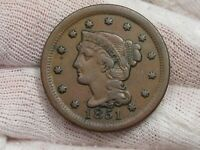 Better Grade 1851 Large Cent.  #29