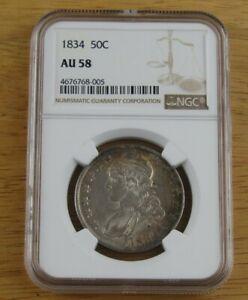 1834 Bust Half Dollar Certified NGC AU 58