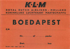 HOLLAND KLM ROYAL DUTCH AIRLINES TO BUDAPEST BOEDAPEST VINTAGE LUGGAGE LABEL